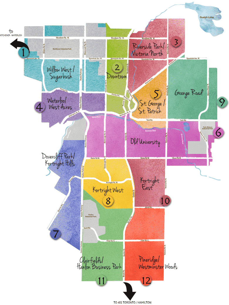 Guelph Neighbourhoods Map